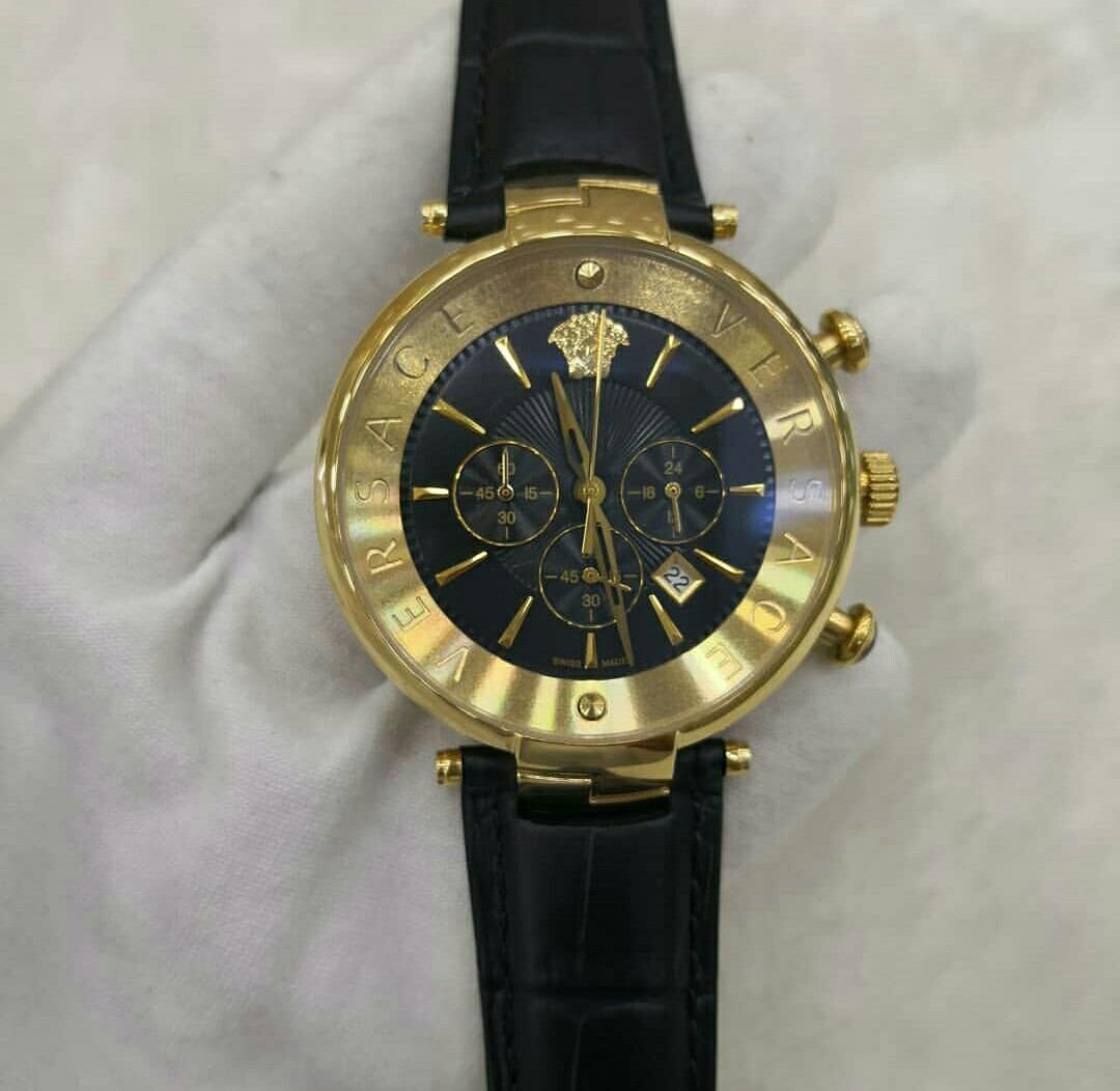 858b64edf07 relógio versace dourado fundo preto couro. Carregando zoom.