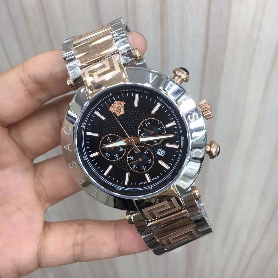eff9f9e00d9 relógio versace misto mostrador preto aço. Carregando zoom.