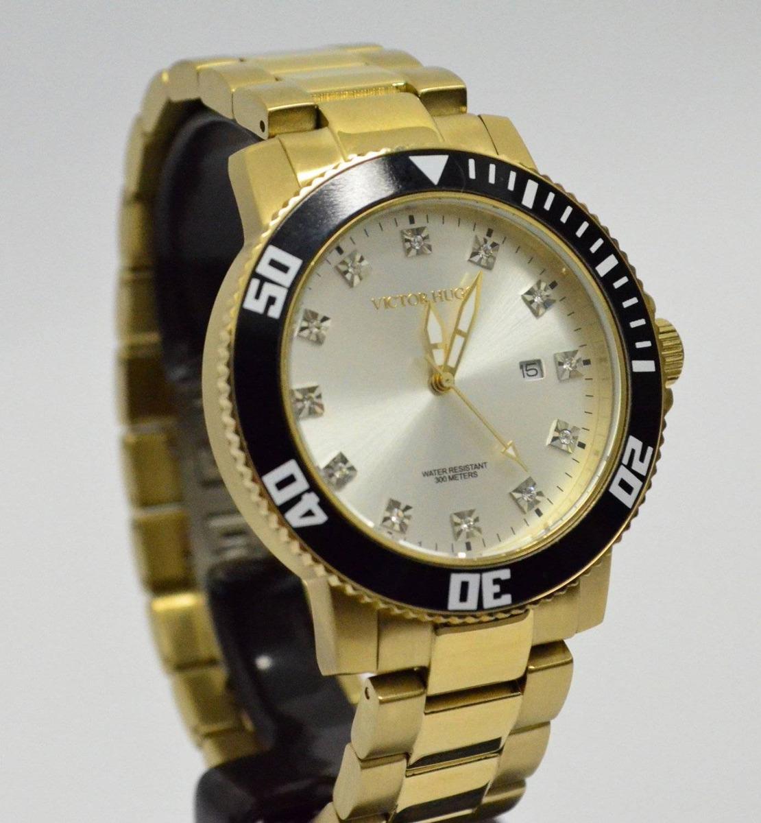 ab3134227cc relógio victor hugo feminino vh10109gsg dourado aro preto. Carregando zoom.