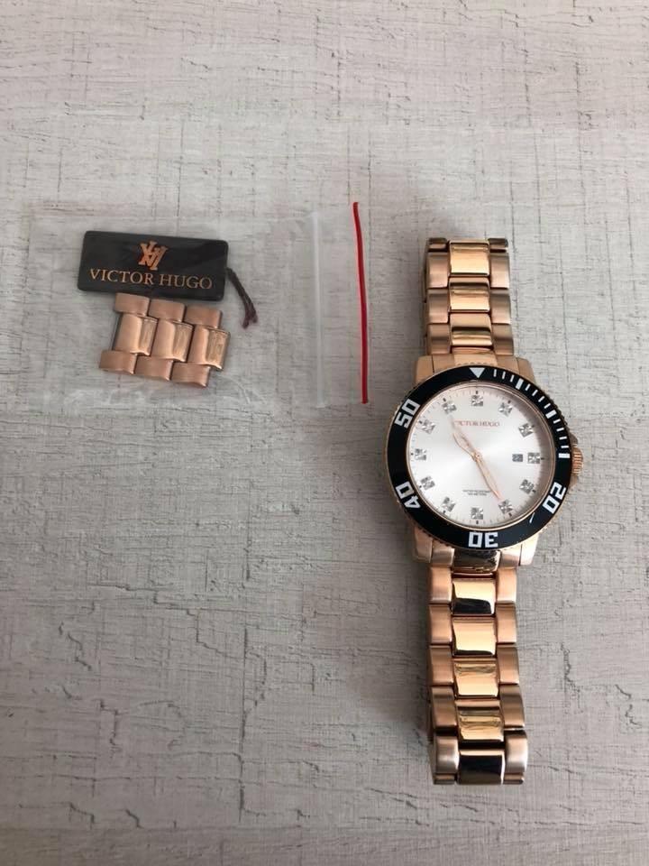 352f6905978 Relógio Victor Hugo Rose Aço Original 12x Sem Juros + Frete! - R ...