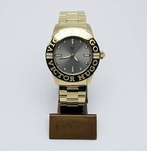 5b3af5bcaf2 Relógio Victor Hugo Vh10119lsg Dourado Fundo Cinza