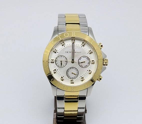 cf2705dfe18 Relógio Victor Hugo Vh10155lssg 28m Prata E Dourado