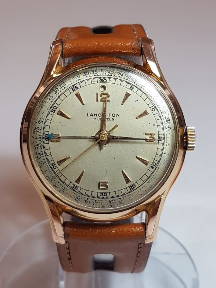 f61c0cae1c0 relogio vintage de pulso lanco fon alarme 17 jewels swiss. Carregando zoom.