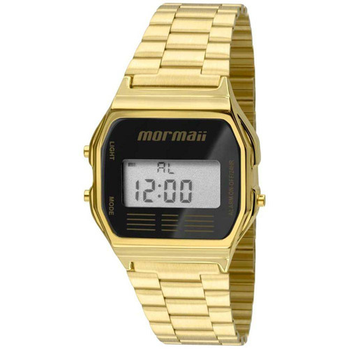relógio vintage digital dourado mormaii barato mojh02ab/4p