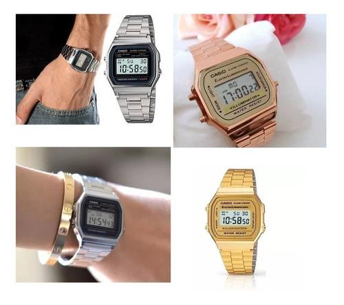 relógio vintage pulso retro preto prata rose dourado