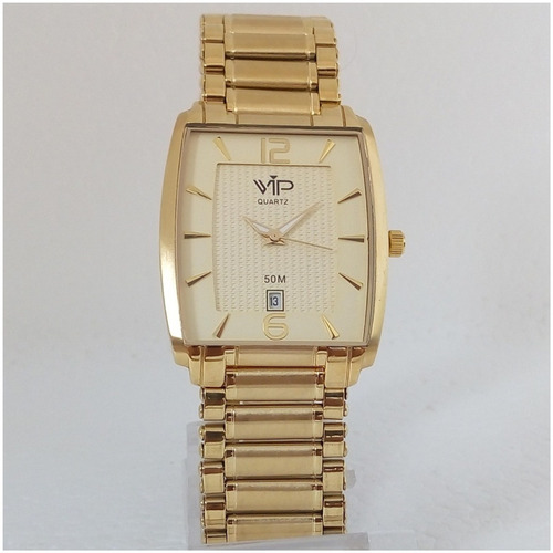 relógio vip feminino quadrado dourado ouro 18k 12x s/juros