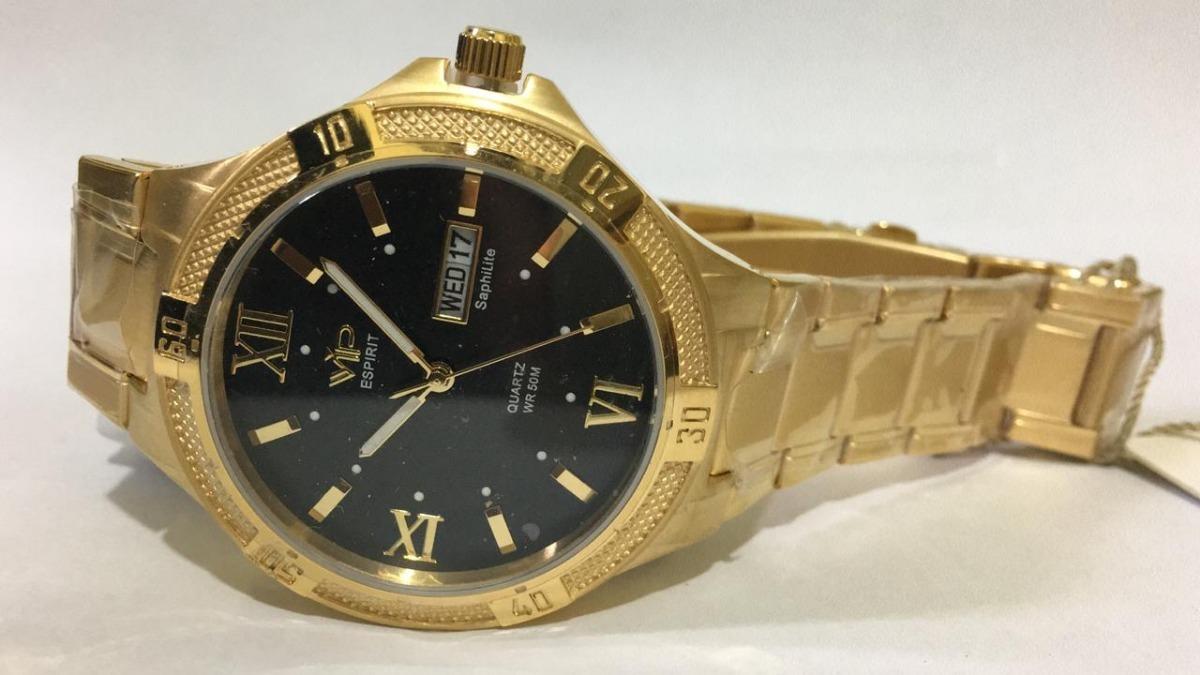 9655dfce566 relógio vip mh-6340 pulseira dourado fundo preto promoção. Carregando zoom.