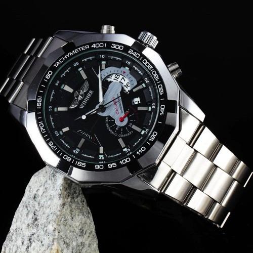 relógio winner automático aço data cronógrafo pronta entrega
