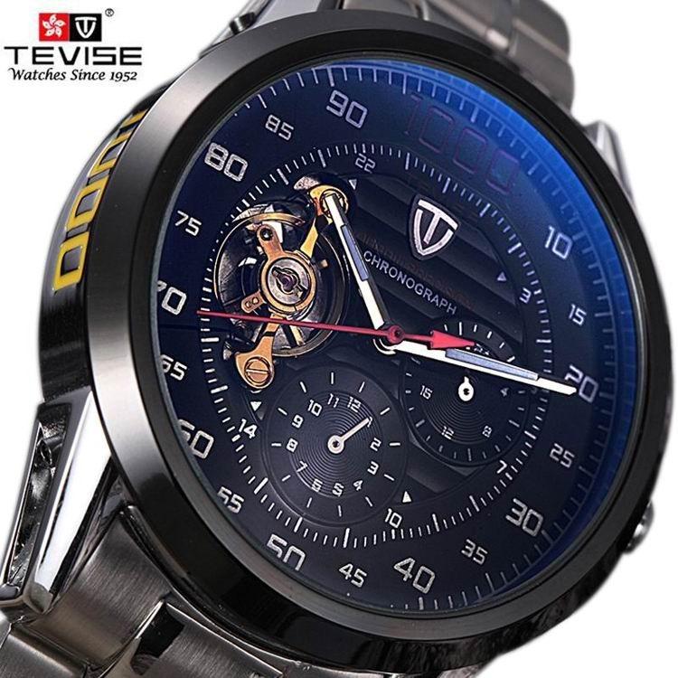 db575facb69 Relógio Winner Automático Esqueleto Preto Transparente Máqui - R  249