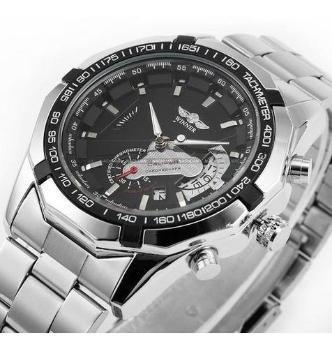 relógio winner automático mecânico prata calendário promoção