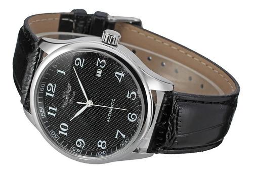 relógio winner automático pulseira de couro promoção