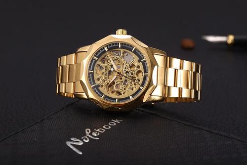relógio winner h199m automático dourado