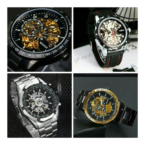 relógio winner luxo preto automático pronta entrega promoção