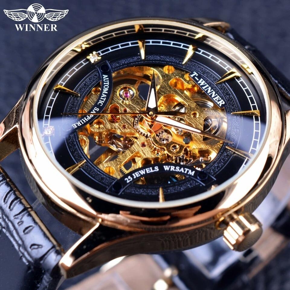 bfc8503e6ca Relógio Winner Skeleton Automático Mecânico Masculino Lindo. - R ...