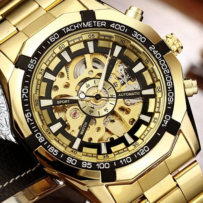 36976090012 Relógio Winner Mecânico Automático Dourado Banhado A Ouro - R  99