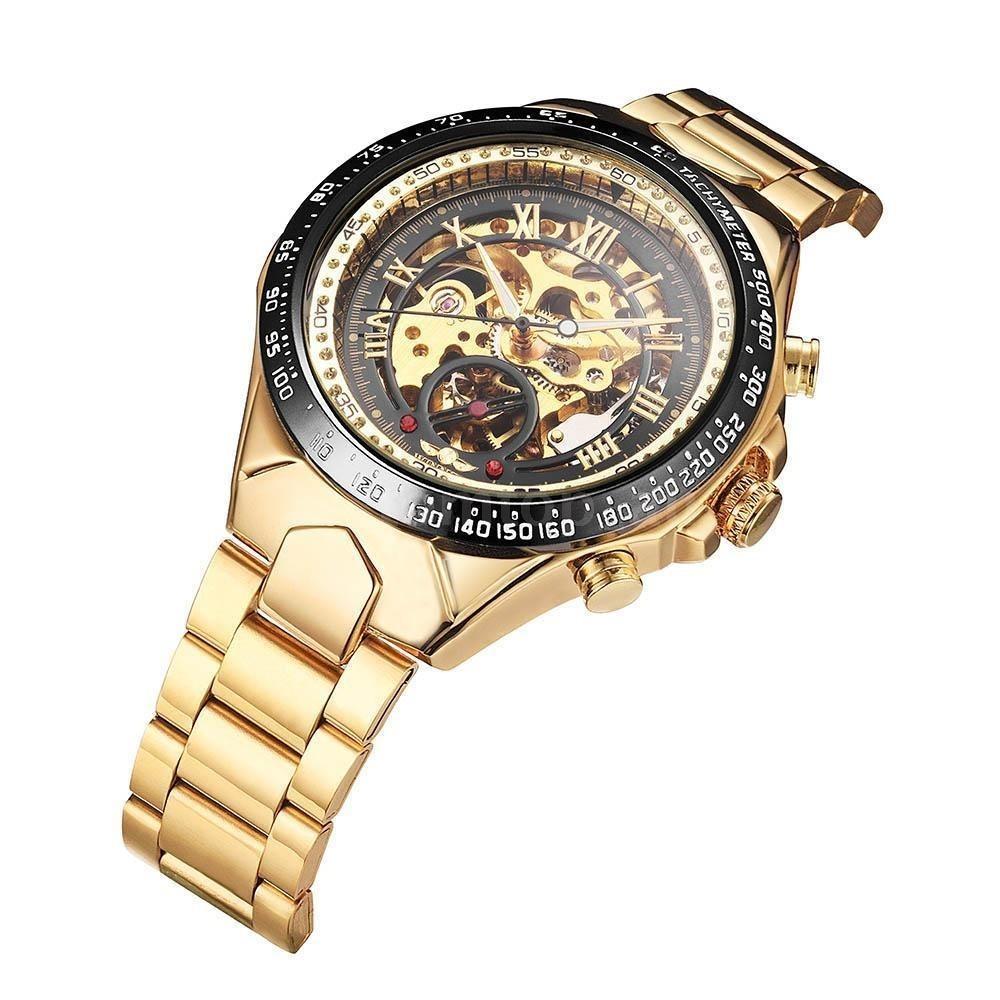 522d4260e12 relógio winner skeleton automático dourado acompanha caixa. Carregando zoom.