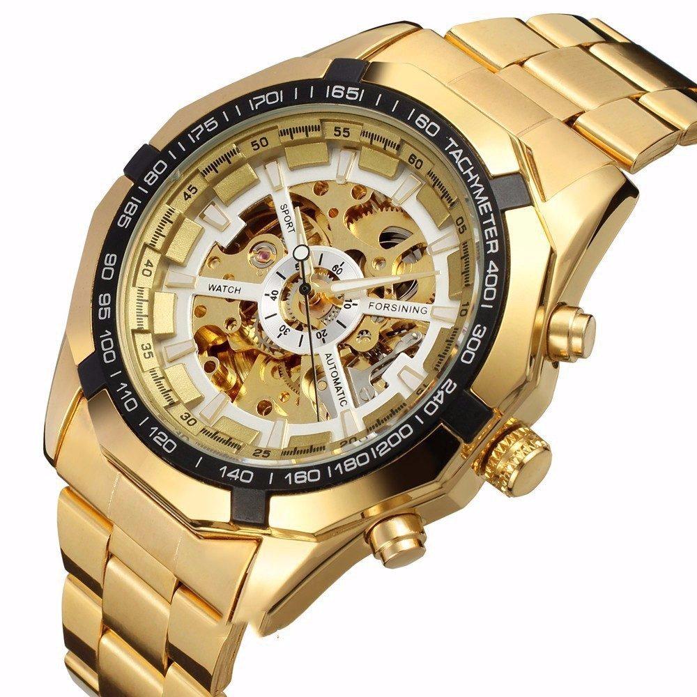 43c52bc58be relógio winner skeleton dourado automático pronta entrega. Carregando zoom.