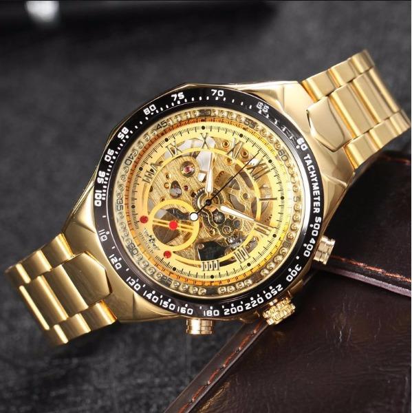 0791187e850 Relógio Winner Skeleton Mecanico Automático De Aço - R  149