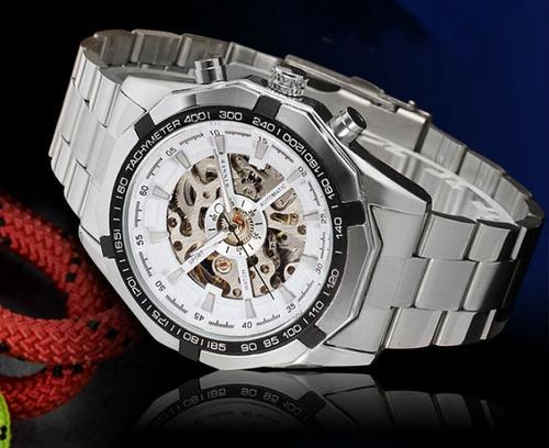 relógio winner skeleton transparente automático oferta