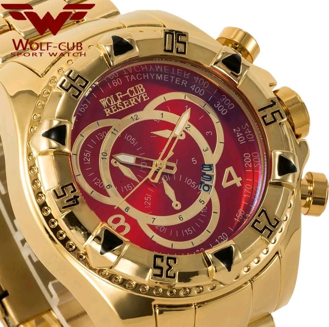 2de13540054 Relógio Wolf Cub Dourado E Vermelho A Prova D água - R  170