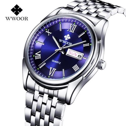 relógio wwoor masculino casual, aço inoxidável aprova dàgua