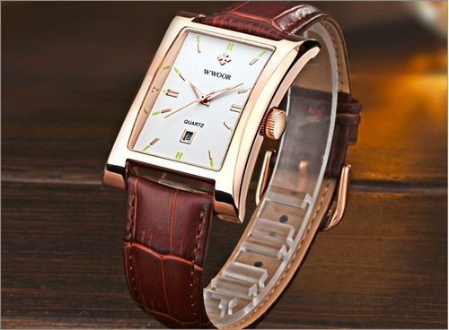 relógio wwoor masculino original 8817 marrom caixa barato