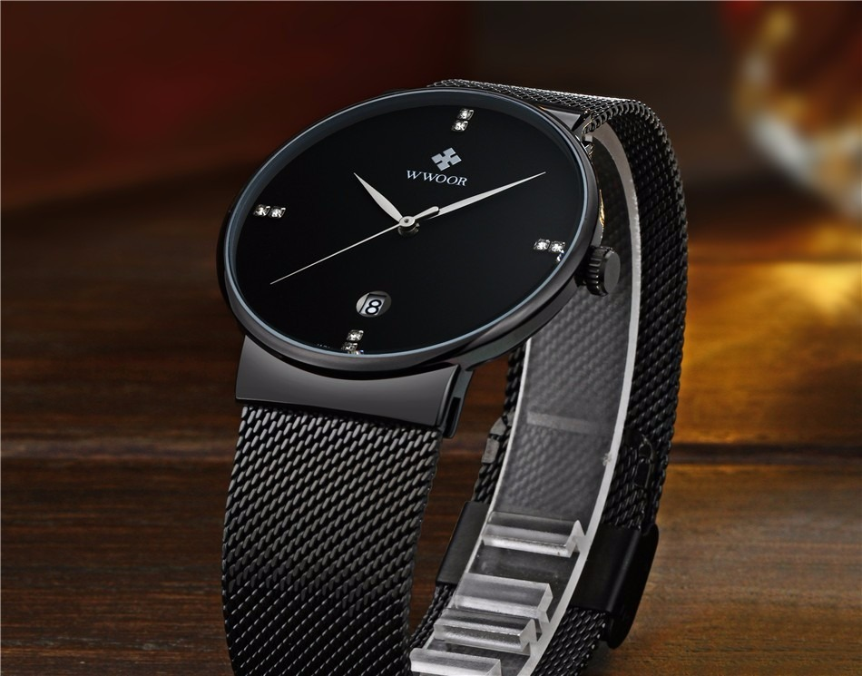 fc6c5965626 relógio wwoor masculino ultra fino quartz japonês luxuosso. Carregando zoom.