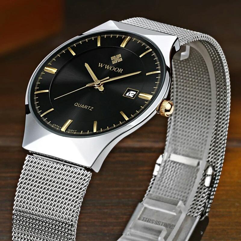 a193d8785f6 relógio wwoor masculino ultra fino quartz luxuoso promoção. Carregando zoom.