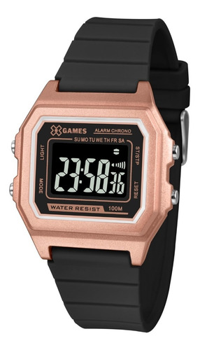 relógio x-games feminino digital xlppd031 rose negativo
