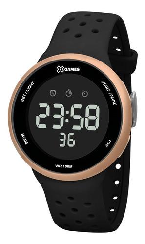 relógio x-games feminino digital xmppd547 rose preto
