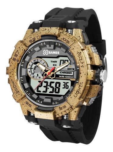 relógio x-games masculino anadigi xmppa236 bxpx dourado
