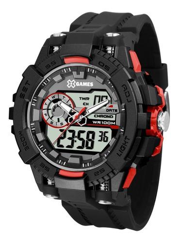 relógio x-games masculino anadigi xmppa237 bxpx vermelho off