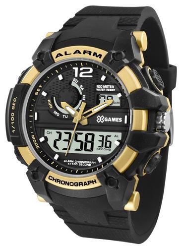 relógio x-games masculino anadigi xmppa271 bxpx dourado
