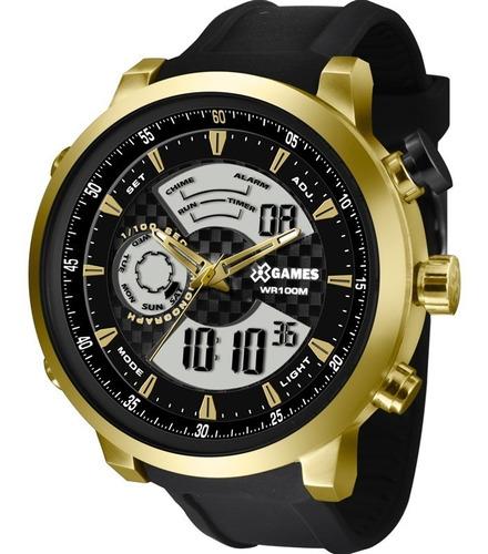 relógio x-games masculino anadigi xmspa018 p2px dourado aço