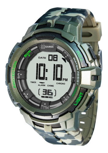 relógio x-games masculino camuflado xmppd386 bxef verde