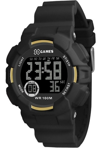 relógio x-games masculino digital preta xmppd494pxpx