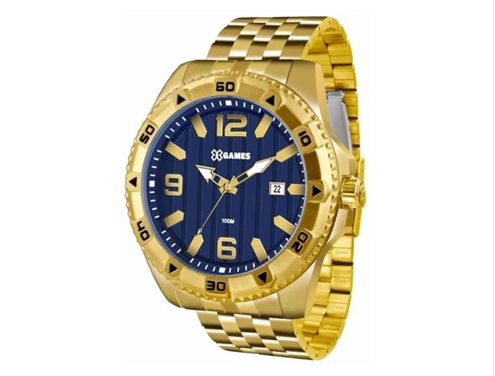 fec5ea26f0a relógio x-games masculino dourado extra grande xmgs1025. Carregando zoom.