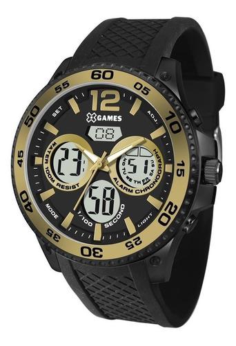 relógio x games masculino ref: xmnpa005 bxpx anadigi black