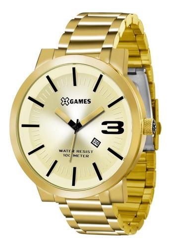 relógio x-games masculino xmgs1007 c2kx dourado  analógico