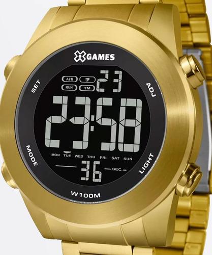 relógio x games masculino xmgsd001 pxkx digital dourado