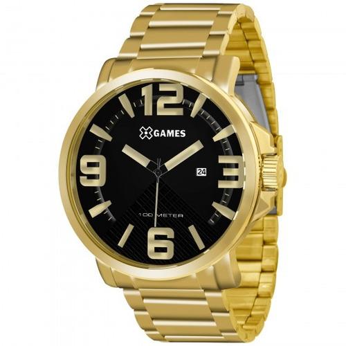 relógio xgames xmgs1011 p2kx dourado redondo preto- refinado