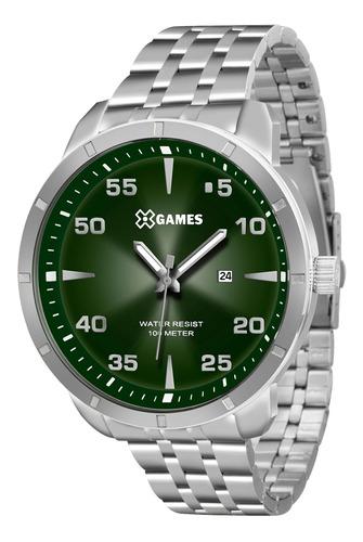relógio xgames xmss1033 e2sx prata redondo verde - refinado