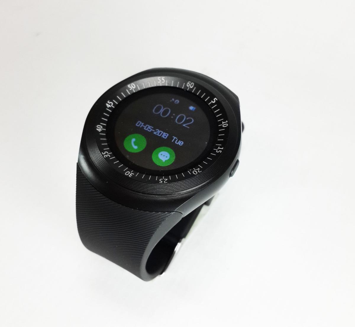6aab408a8a0 relógio y1 celular redondo ewatch inteligente bluetooth chip. Carregando  zoom.