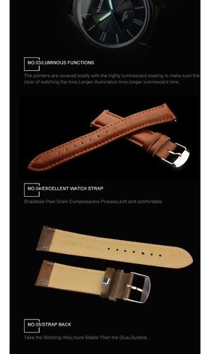relógio yazole 358 masc pulseira de couro à prova d' água