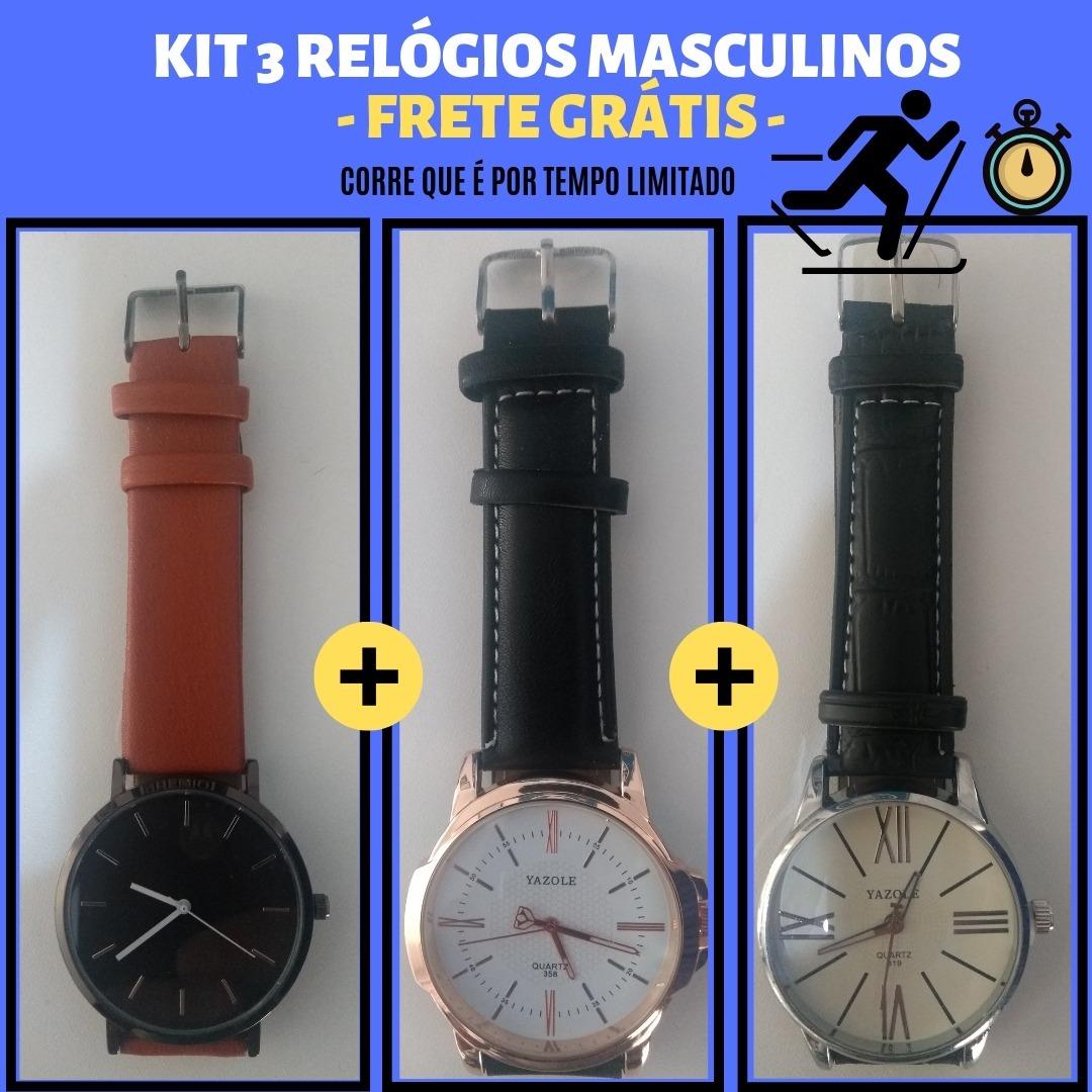 d39bd9d1738 relógio yazole casual kit c  3 frete grátis ...