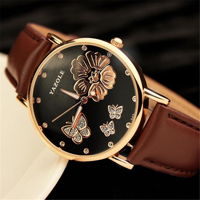 c60d6f1afa1 Relógio Yazole Original Feminino Luxo Pulseira Couro Quartz - R  40 ...