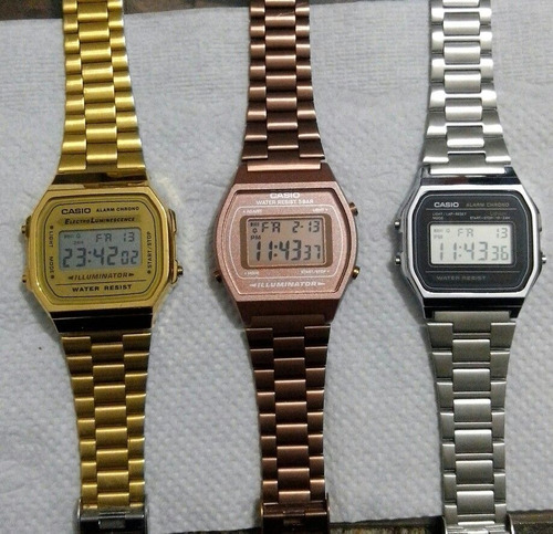 relógios casio unissex digital vintage prata rosê