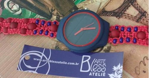 relógios customizados macramé