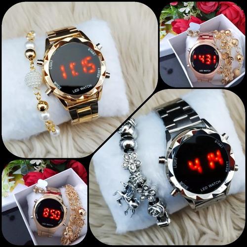 relógios digital feminino kit com 2 barato dourado p revenda
