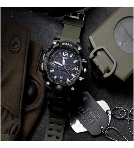 relógios esportivo militar smael original -preto com dourado